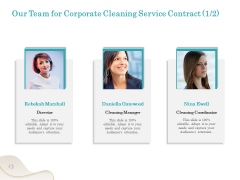 Office Cleaning Service Our Team For Corporate Cleaning Service Contract Ppt Gallery Visual Aids PDF