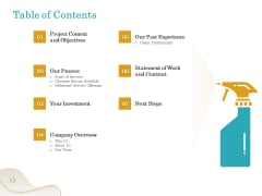 Office Cleaning Service Table Of Contents Ppt Slides Deck PDF