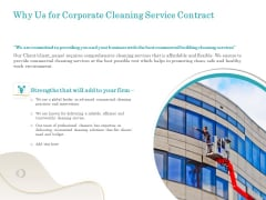 Office Cleaning Service Why Us For Corporate Cleaning Service Contract Ppt Summary Background PDF