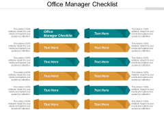 Office Manager Checklist Ppt PowerPoint Presentation Professional Images Cpb
