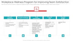Official Team Collaboration Plan Workplace Wellness Program For Improving Team Satisfaction Diagrams PDF