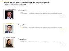 Offline Promotional Strategy For New Product Radio Marketing Campaign Proposal Client Testimonials Management Information PDF