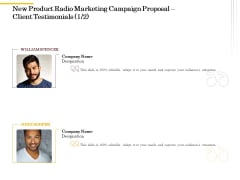 Offline Promotional Strategy For New Product Radio Marketing Campaign Proposal Client Testimonials Portrait PDF
