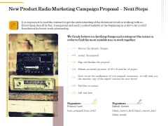 Offline Promotional Strategy For New Product Radio Marketing Campaign Proposal Next Steps Pictures PDF