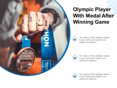 Olympic Player With Medal After Winning Game Ppt PowerPoint Presentation Icon Background Images PDF