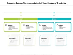 Onboarding Business Plan Implementation Half Yearly Roadmap Of Organization Demonstration
