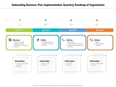 Onboarding Business Plan Implementation Quarterly Roadmap Of Organization Icons