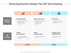 Onboarding Business Strategic Plan Half Yearly Roadmap Graphics