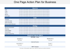 One Page Action Plan For Business Ppt Powerpoint Presentation Portfolio Slides