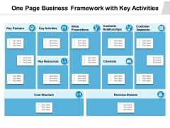 One Page Business Framework With Key Activities Ppt PowerPoint Presentation File Infographic Template PDF