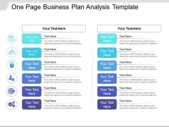 One Page Business Plan Analysis Template Ppt PowerPoint Presentation Model Objects PDF