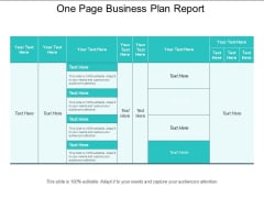 One Page Business Plan Report Ppt PowerPoint Presentation Model Tips PDF