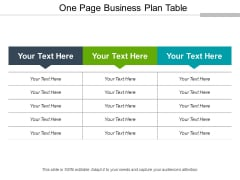 One Page Business Plan Table Ppt PowerPoint Presentation Portfolio Guidelines PDF