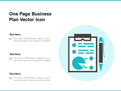 One Page Business Plan Vector Icon Ppt PowerPoint Presentation File Graphics PDF