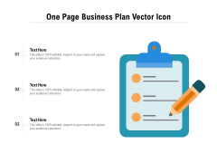 One Page Business Plan Vector Icon Ppt PowerPoint Presentation Gallery Influencers PDF