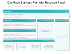 One Page Business Plan With Resource Panel Ppt PowerPoint Presentation File Layout PDF
