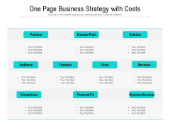 One Page Business Strategy With Costs Ppt PowerPoint Presentation File Clipart PDF