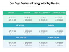 One Page Business Strategy With Key Metrics Ppt PowerPoint Presentation File Background Image PDF