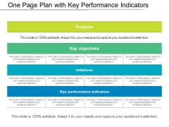 One Page Plan With Key Performance Indicators Ppt PowerPoint Presentation Model Smartart PDF