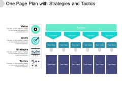 One Page Plan With Strategies And Tactics Ppt PowerPoint Presentation Layouts Influencers PDF