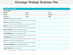 One Page Strategic Business Plan Ppt Powerpoint Presentation Layouts Guidelines