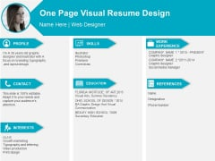 One Page Visual Resume Design Ppt PowerPoint Presentation Portfolio Design Ideas PDF