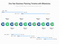 One Year Business Planning Timeline With Milestones Ppt PowerPoint Presentation Gallery Layouts PDF