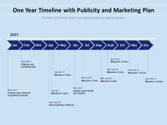 One Year Timeline With Publicity And Marketing Plan Ppt PowerPoint Presentation File Background Designs PDF