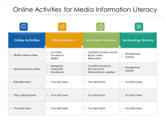 Online Activities For Media Information Literacy Ppt PowerPoint Presentation Professional Graphics PDF