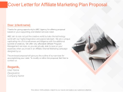 Online Advertising Plan Proposal Cover Letter For Affiliate Marketing Plan Proposal Ppt Infographic Template Master Slide PDF