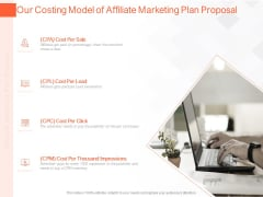 Online Advertising Plan Proposal Our Costing Model Of Affiliate Marketing Plan Proposal Ppt Infographics Examples PDF