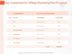 Online Advertising Plan Proposal Your Investment For Affiliate Marketing Plan Proposal Ppt Layouts Graphics Template PDF