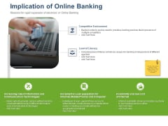 Online Banking Administration Procedure Implication Of Online Banking Ppt Infographics Example Introduction PDF