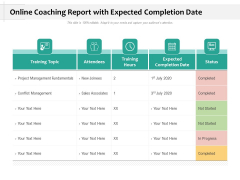Online Coaching Report With Expected Completion Date Ppt PowerPoint Presentation Portfolio Graphics Design PDF