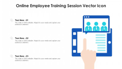 Online Employee Training Session Vector Icon Ppt PowerPoint Presentation Gallery Deck PDF