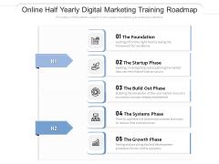 Online Half Yearly Digital Marketing Training Roadmap Diagrams