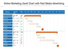 Online Marketing Gantt Chart With Paid Media Advertising Ppt PowerPoint Presentation File Portfolio PDF