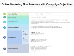 Online Marketing Plan Summary With Campaign Objectives Ppt PowerPoint Presentation Infographics Summary PDF