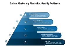 Online Marketing Plan With Identify Audience Ppt PowerPoint Presentation Layouts Demonstration PDF