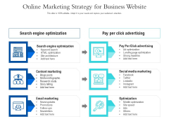 Online Marketing Strategy For Business Website Ppt PowerPoint Presentation Gallery Good PDF