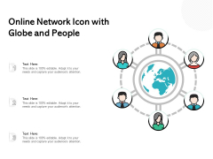 Online Network Icon With Globe And People Ppt PowerPoint Presentation File Vector PDF
