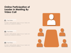 Online Participation Of Leader In Meeting By Video Call Ppt PowerPoint Presentation Outline Smartart PDF