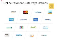 Online Payment Gateways Options Ppt PowerPoint Presentation Slides Grid