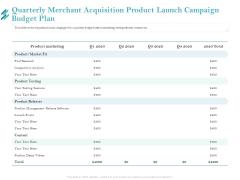 Online Payment Platform Quarterly Merchant Acquisition Product Launch Campaign Budget Plan Sample PDF