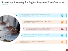 Online Settlement Revolution Executive Summary For Digital Payment Transformation Background PDF