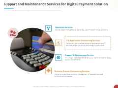 Online Settlement Revolution Support And Maintenance Services For Digital Payment Solution Ideas PDF