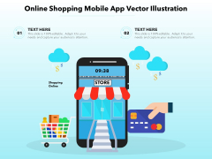 Online Shopping Mobile App Vector Illustration Ppt PowerPoint Presentation Visual Aids Gallery PDF