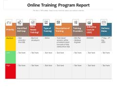 Online Training Program Report Ppt PowerPoint Presentation Icon Inspiration PDF