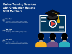 Online Training Sessions With Graduation Hat And Staff Members Ppt PowerPoint Presentation Outline Graphics PDF
