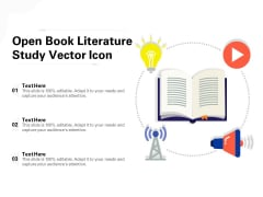 Open Book Literature Study Vector Icon Ppt PowerPoint Presentation Model Picture PDF